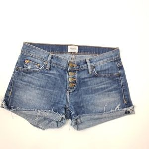 Hudson Button Fly Raw Hem Jean Shorts SZ 25